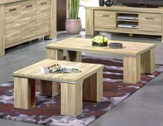 Table basse contemporaine coloris chêne clair OBIERA