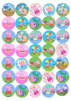 Peppa Pig George cupcake toppers edible wafer paper size diamer cut out Tortas Peppa Pig, Cumple Peppa Pig, Toy Story Cupcakes, Pig Cupcakes, Peepa Pig, Peppa Pig Stickers, Peppa E George, Peppa Pig Printables, Edible Printing