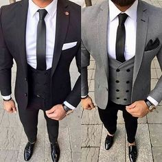 Ideas wedding suits men black style gray for 2019 Best Suits For Men, Cool Suits, Indian Men Fashion, Mens Fashion Suits, Black And Grey Suit, Black Pants, Blazer Outfits Men, Casual Outfits, Formal Men Outfit