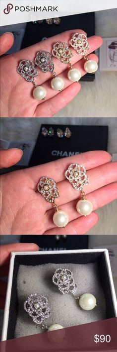 New Camellia Pearl drop earrings New with Chanel box,No stamp on this one,Inspired but super high quality,Price is firm but bundle to save. Jewelry Earrings
