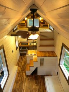 """robins nest tiny house on wheels by brevard tiny homes 0008 -- I love the ones with proper staircases and lofts. Lofts, Tiny House Movement, Tiny House Plans, Tiny House On Wheels, Casas Containers, Tiny Spaces, Tiny House Living, Tiny House Design, Loft Design"
