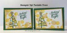 Create a Bokeh card quickly and easily with Stampin' Up! Twinkle Trees. Includes how to video. Kay Kalthoff, Christmas Cards, Bokeh Technique, #stampingtoshare