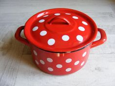 Lovely Vintage Red with white dots Enameled by GrisSourisBrocante, $65.00