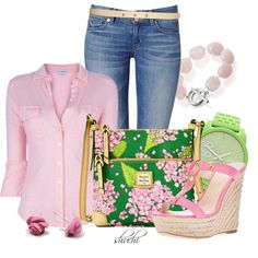 Pink and Green Casuals by shuchiu on Polyvore