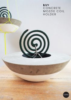 How to make this DIY mozzie coil holder from concrete. Teamed with a Crockhead coil holder, it's definately stylish, check out the hanging option too. Beton Diy, Concrete Pots, Concrete Crafts, Incense Holder, Porcelain Clay, Citronella, Diy Clay, Summer Crafts, Ceramic Pottery