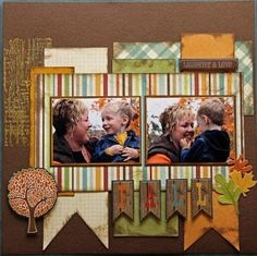 fall scrapbook layout - Google Search ...I am intrigued by the burlap in the background