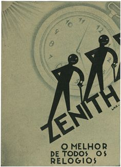 "Zenith Advertisement, 16, May 6, 1930. The Portuguese ""Film Chronicle"" magazine's distinctive advertisement created by designer/illustrator, Lazarus. 1930."