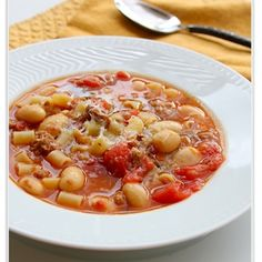 Sausage and Bean Soup with Pasta-Can be healthy with turkey sausage