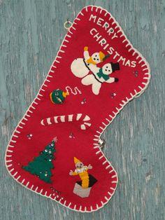 handmade felt christmas stockings | Vintage 50s Handmade Felt Christmas Stocking