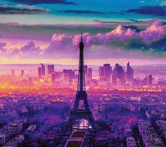 Sunset in paris wallpaper