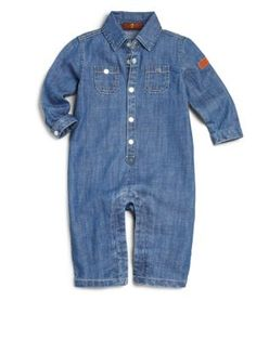 7 For All Mankind - Infant's Collared Chambray Coverall