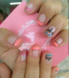 Uñas aztecas yoly Nail Spa, Manicure And Pedicure, Love Nails, My Nails, Magic Nails, Short Nail Designs, Nail Decorations, Short Nails, Nail Arts