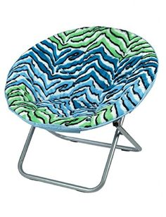 Faux Fur Saucer Chair (Blue And Green Zebra) Just Super Soft Blue And Green