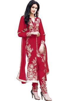 Red Color Georgette Straight Cut Suit - Rs. 1050.00