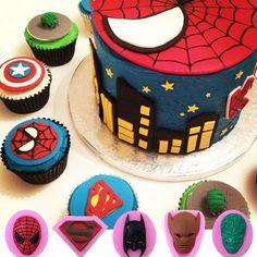 3D Silicone Green Hulk Superman Batman Spiderman Wolverine Clay Fimo Cupcake…