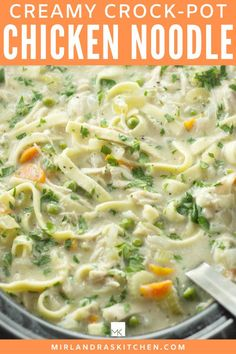 Creamy Crock-Pot Chicken Noodle Soup is savory and comforting on a cold, winter day. The soup is easy to toss together and the crock does all the work!