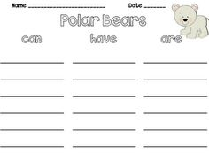 for polar bear writing project.....animals and their habitats unit