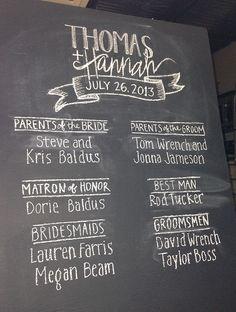 Handwritten Chalkboard Wedding Program