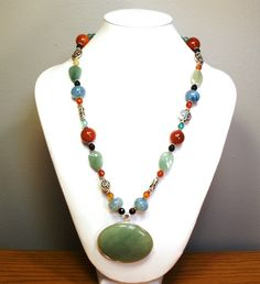 Gemstone Necklace Aventurine and Agate by designsbylaurie on Etsy, $65.00