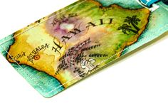 hawaii luggage tag recycled paper luggage tag with a map of hawaii. $8.00, via Etsy.