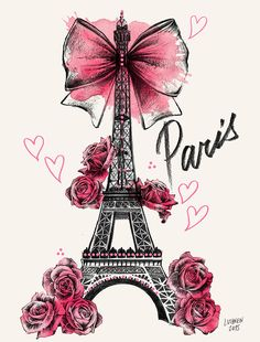 Lutheen Illustration - Draw - 'Roses for Paris'… Tour Eiffel, Paris Eiffel Tower, Cute Wallpapers, Wallpaper Backgrounds, Iphone Wallpaper, Girly Wallpapers For Iphone, Paris Kunst, Decoupage, I Love Paris