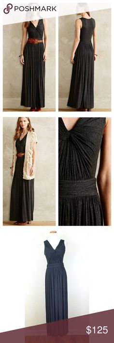 (Anthro) Bailey 44 Knotted Maxi Dress (Anthro) Bailey 44 Knotted Maxi Dress. Soft 95% Rayon 5% Spandex. Versatile, wear into fall. Partially lined. Flattering knotted V Neck bust. NWT.   Bust 16 flat, unstretched Length 57 on hanger, shoulder to hem.   No trade or P.P. Reasonable offers considered Bundle Discount Anthropologie Dresses Maxi