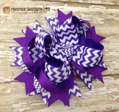 Purple Chevron OTT Loopie Hair Bow - Great for all Occasions - Perfect Fit for All Ages, Baby headband