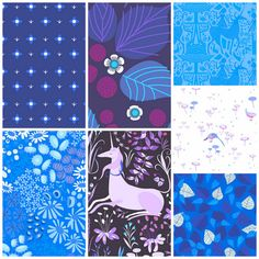 Fat Quarter Bundle of Midnight Meadow Colorway  by FabricCadabra