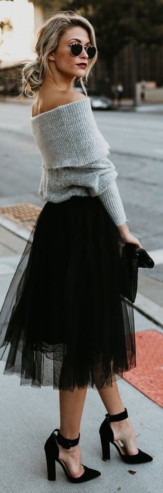 Grey Off-Shoulder Sweater & Black Tulle Skirt.