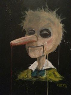 """Wooden Liars Club"" acrylic on canvas 2014 by Shaun Lambert"