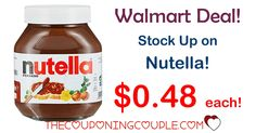 STOCK UP! Get Nutella Spread for only $0.48 each at Walmart! What a great price!  Click the link below to get all of the details ► http://www.thecouponingcouple.com/nutella-spread-deal/ #Coupons #Couponing #CouponCommunity  Visit us at http://www.thecouponingcouple.com for more great posts!