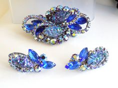 Vintage Blue and AB Rhinestone Brooch and by JanesVintageJewels