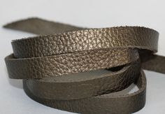 15mm  Leather  Flat cord , Metallic Army Green Genuine Leather Strap by JLLeatherSupplies on Etsy