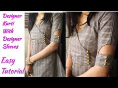 DIY Kurti Cutting and Stitching With Designer Sleeves Simple Kurta Designs, Silk Kurti Designs, Churidar Neck Designs, Stylish Dress Designs, Kurta Designs Women, Kurti Designs Party Wear, Latest Kurti Designs, Kurti Back Neck Designs, Neck Designs For Suits