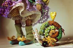 Купить Мышка Ива - улитка, зеленый, мышка, авторская работа, авторская игрушка, интерьерная игрушка