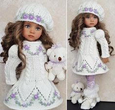 "DRESS,HAT&BOOTS SET MADE FOR EFFNER LITTLE DARLING,MY MEADOW&MARU 13"" DOLLS #Unbranded"