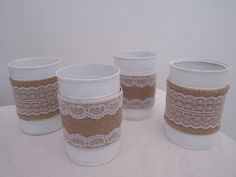 Handmade Hessian Tin Cans by BowsandSurprises on Etsy Tin Cans, Hessian, Candle Holders, Candles, Rustic, Canning, Tins, Tableware, Handmade