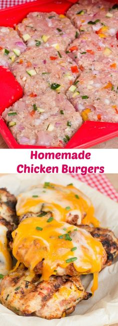 Homemade Chicken burgers are a great alternative to beef. These chicken burgers are lean, tender and moist. Perfect for the grill, pan fried or baked in the oven.
