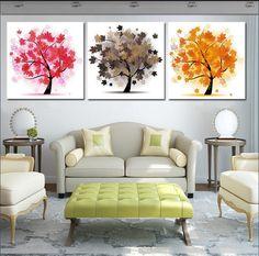 arte moderno sobre lienzo 3 piezas de arte de la pared de imagen decoración de hogar estimado los árboles de dinero para la familia de los árboles de la suerte que usted aquí y la pintura impresa