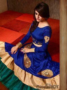 Blue Green Bhagalpuri Silk Bridal Lehenga #Lehenga