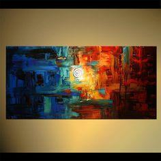 Bunte abstrakte Malerei Original zeitgenössische Spachtel
