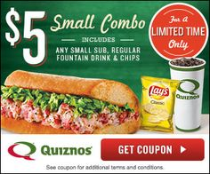 $5.00 Quiznos Small Combo Coupon! #sandwiches #thefrugalgirls