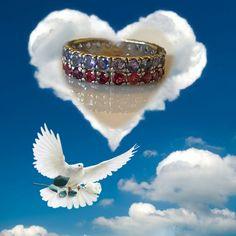 A stunning Tanzanite Rhodolite Ring Size 8.5 Sterling Silver & Gold