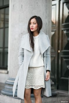 lace skirt, white sweater and grey jacket