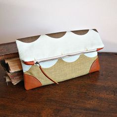 Multi Color Wave Pattern Fold Over Clutch Handbag