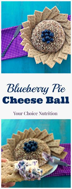 This Blueberry Pie Cheese Ball is the perfect appetizer or dessert for your next family gathering! Only 5 ingredients (made healthier with siggi's yogurt)! Cheese Ball Recipes, Dip Recipes, Sweet Recipes, Snack Recipes, Dessert Recipes, Healthy Recipes, Keto Snacks, Potato Recipes, Vegetable Recipes