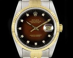 Rolex Datejust Gents Stainless Steel & 18k Yellow Gold Maroon Vignette Diamond Dial 16233 Rolex Datejust, Vignettes, Stainless Steel, London, Diamond, Yellow, Gold, Watches, Accessories