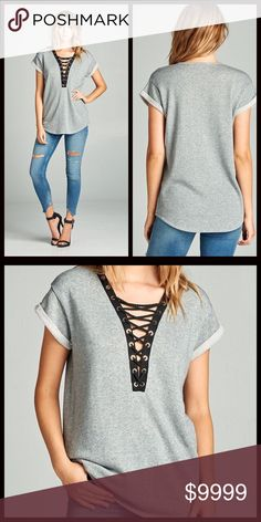 PARTY SALE🎉Lace up Rolled Sleeve Top Such a cute top for the fall transition. Stunning lace up top perfect for lounging and keeping that sexy look! 70% Cotton 30% Poly. Sweater like material great for those cool fall nights. Super cute on! A gorgeous loose fit look. Tops Tees - Short Sleeve