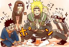 Team Minato and baby naruto Anime Naruto, Comic Naruto, Naruto Und Sasuke, Kakashi And Obito, Naruto Cute, Naruto Funny, Sakura And Sasuke, Naruto Shippuden Anime, Team Minato