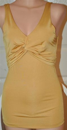 SEXY GOLD YELLOW LINED TWIST BUST FITTED STRETCHY GLAM CLEAVAGE TOP BACK TIE new #TOPAZ #TankCami #Clubwear